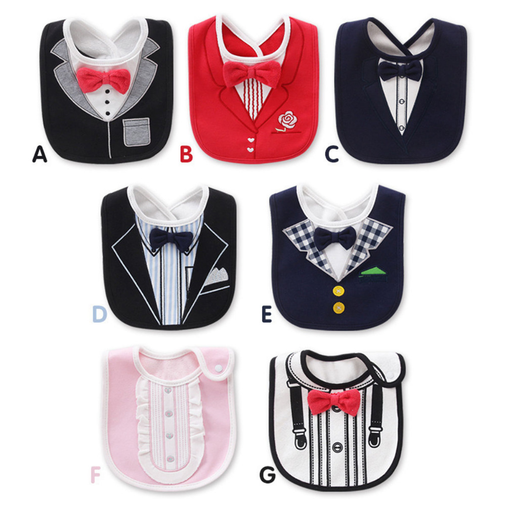 Wet Wipes Removable Baby Bibs Waterproof Babys Tuxedo Kids Dinner Feeding Bib Saliva Towel Child Red Bow Tie Gentleman