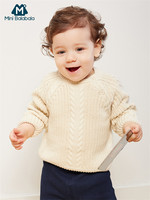 Minibalabala Baby Boys Girls Infant Cable knit Sweater Winter Newborn Soft Cotton Pullover Sweater Open Shoulder Baby Clothes
