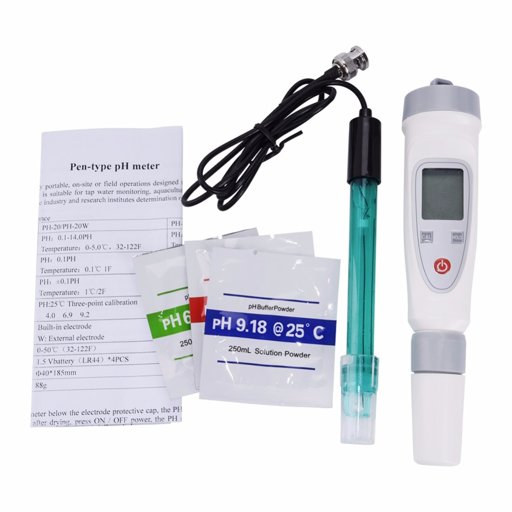 yieryi Portable Digital Water Quality Tester Pen PH Meter Water Quality Test Pen PH 20W External Connection Electrode Tester