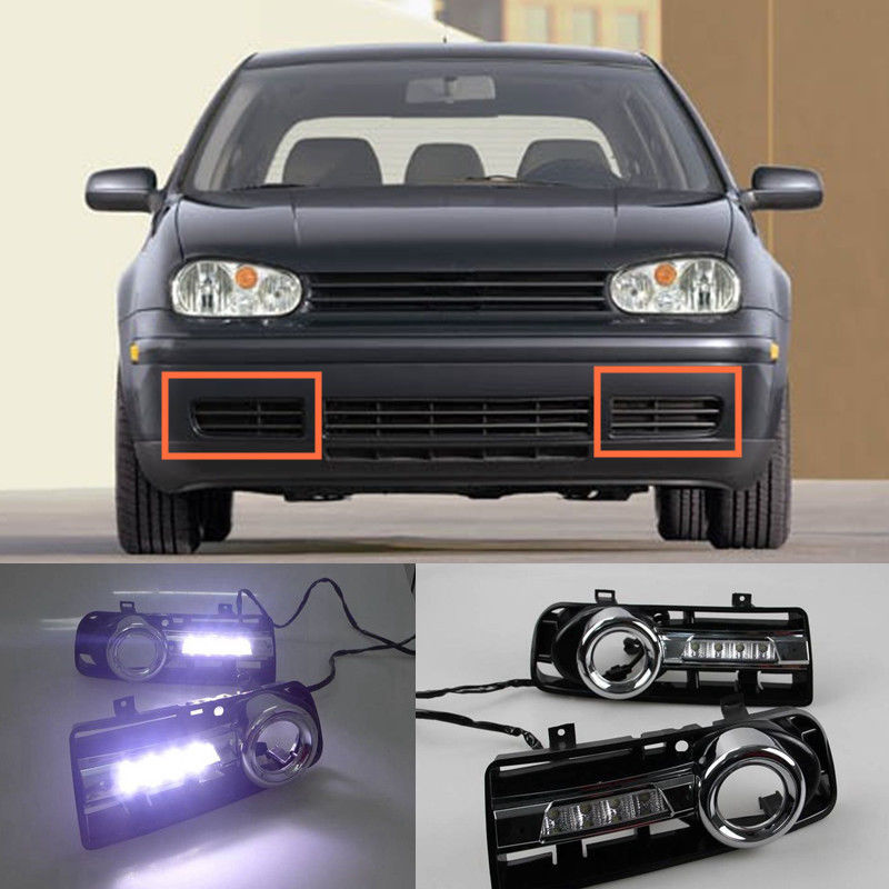 2pcs White LED Daytime Running Light DRL fog lamp For Volkswagen Golf 4 1999 2000 2001 2002 2003 2004 2005 2006 qvvcev 2pcs new car led fog lamps 60w 9005 hb3 auto foglight drl headlight daytime running light lamp bulb pure white dc12v