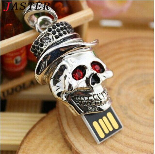 JASTER crystal skull head usb flash Drive 4G 8G 16G 32G USB2.0 Card Memory Stick Drive u disk pen drive Free Shipping