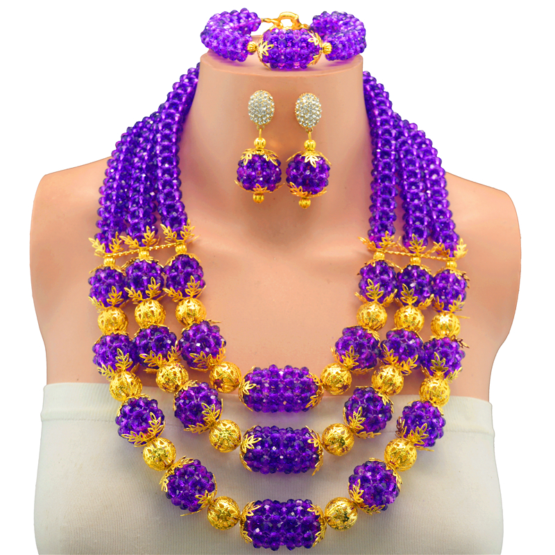 Fashionable African Beads Jewelry Set Lilac Purple Costume Nigerian Wedding African Bridal Jewelry Set Free Shipping цены онлайн