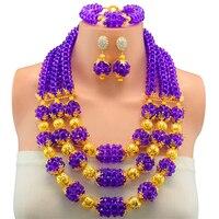 Fashionable African Beads Jewelry Set Lilac Purple Costume Nigerian Wedding African Bridal Jewelry Set Free Shipping