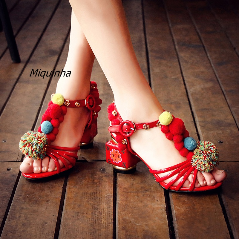 Delicate Metal Flowers Pompom Stick Heels Women Featured Open Toe Hand Painted Strange Heel Shoes Classy Buckle Dress Sandals