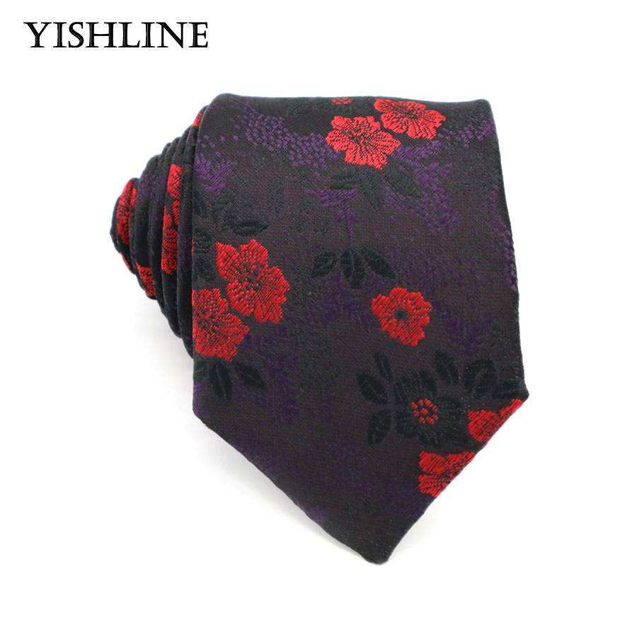 GLT08 Floral 7CM Mens Tie 100% Silk Corbatas Man Self-tied Neck Ties Purple Red Flowers Bridegroom Acessories Wedding Party