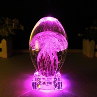 3D Animal Jellyfish Crystal LED Night Light Bedside Table Lamp with Crystal Base Novelty Children Bedroom Night Light Gift