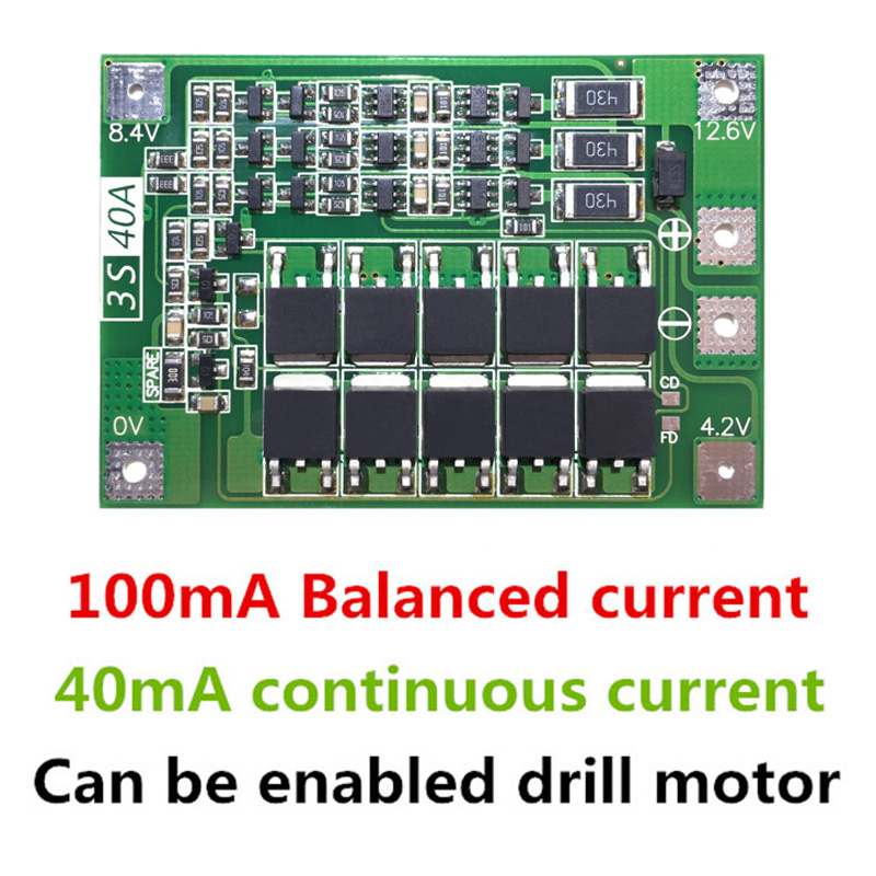 3S 40A Li-ion Lithium Battery Charger Protection Board PCB BMS For Drill Motor 11.1V 12.6V Lipo Cell Module with Balance ...