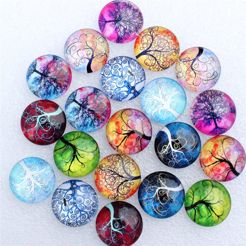 25mm Random  Mixed Style Hope Tree Round Glass Cabochon Flatback Photo Dome Jewelry Jewelry DIY Accessories 10pcs/lot K06036