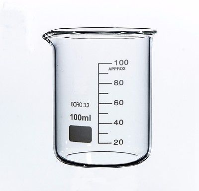 100ml Low Form Beaker Chemistry Laboratory Borosilicate Glass Transparent Beaker Thickened with spout FREE SHIP
