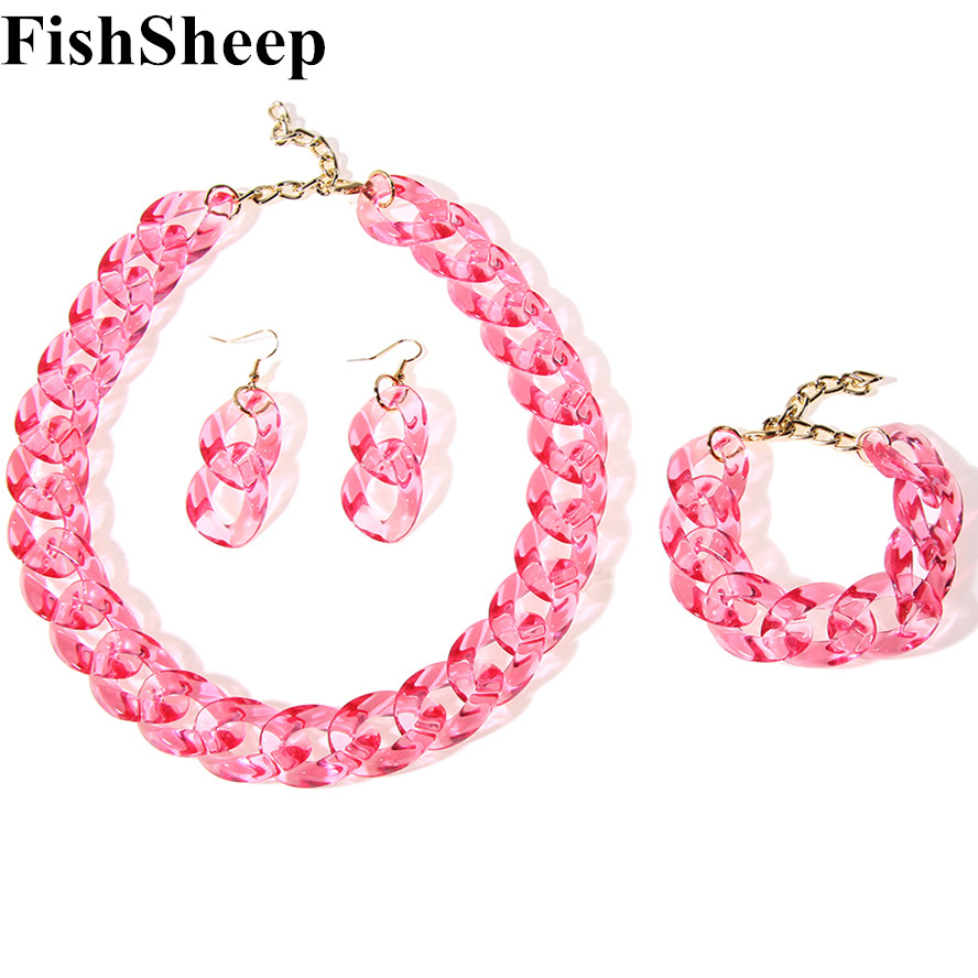 FishSheep 2018 New Long Chain Necklace For Women Chunky Trans
