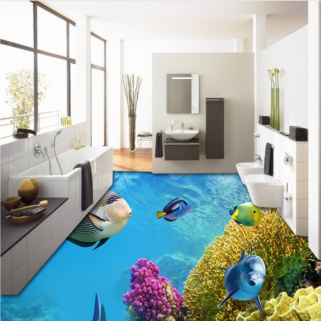 Free Shipping Beautiful Underwater World Dolphin 3D Floor Painting on bathroom under the sea, bathroom art underwater, bedroom underwater, living room underwater,