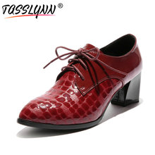 TASSLYNN 2018 New Spring Autumn Shoes Women Genuine Leather /PU Women Pumps Square High Heels Lace Up Casual Shoes Size 34-43
