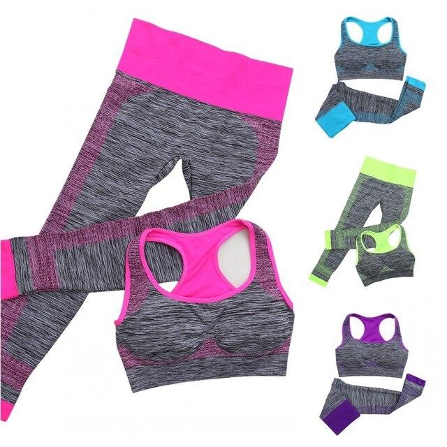 2 pcs Femmes Yoga Sport Ensembles Fitness Extensible Sans Couture  Soutien-Gorge Débardeur + Pantalon 19bb15fd0a7