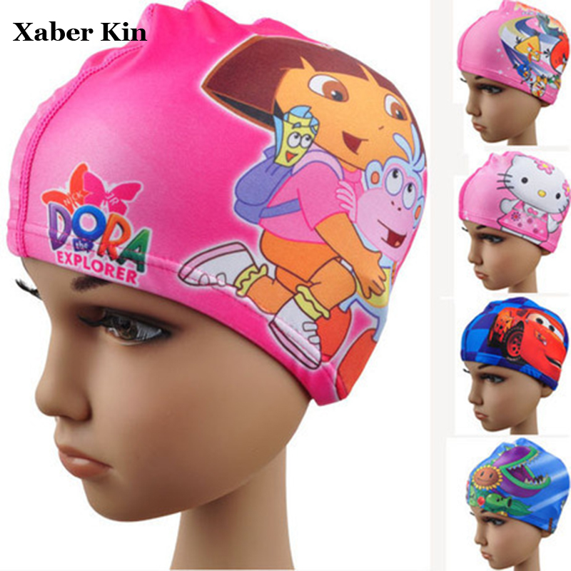 Baby Boys&Girls Swimming Caps 2-10y Swim Hats Cartoon Swimming Caps Bathing Caps for Children G17-K490 1pc swimming cap swim silicone hats candy color water proof caps brand new adult men women children high quality caps