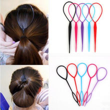 Women Ponytail Styling Maker Clip Tool Hair Accessories Hair Ties For Girls Hair Braid Style Tool Headband Female Plastic Loop(China)