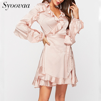 Syoovaa Stain Sash Wrap Ruffle Women Dress Elegant Solid Long Sleeve Winter Autumn Dress Vintage High Waist Slim Casual Dresses
