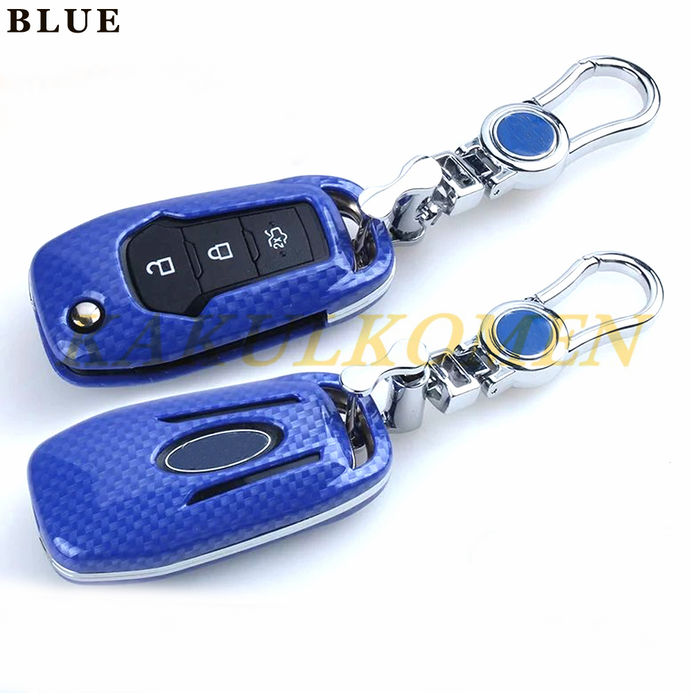 New Carbon Fiber Car Auto Remote Key fob Holder Cases Cover Shell For Ford Everest ESCORT Mondeo 1.5L Car Styling folding key