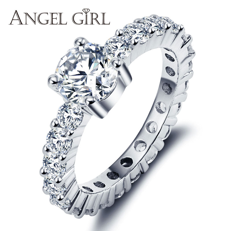 aliexpresscom buy angel girl real 925 sterling silver wedding rings women round white female ring classic gift brand luxury women jewelry fine from - Girl Wedding Rings