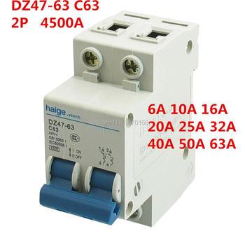 DZ47-63 C63 2 Pole AC 230/400V 3A 6A 10A 16A 20A 25A 32A 40A 50A 63A  Overload Protection Circuit Breaker dz47 63 miniature circuit breaker air switch 1p2p3p4p household air switch leakage 6a 32a 63a