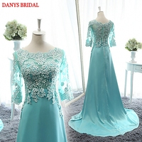 Long Sleeve Lace Mother of the Bride Dresses Gowns A Line Mint Green Formal Godmother Groom Long Dresses vestido de madrinha