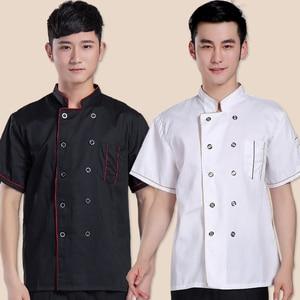 Chef Jacket for Man Summer Kitchen Short-sleeved Kitchen Clothing Hotel Food Uniform Patisserie Workwear