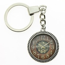 Vintage Gear Clock Picture 25mm Glass Cabochon Key Chain 2 Colors Women Fashion Keyring Jewelry