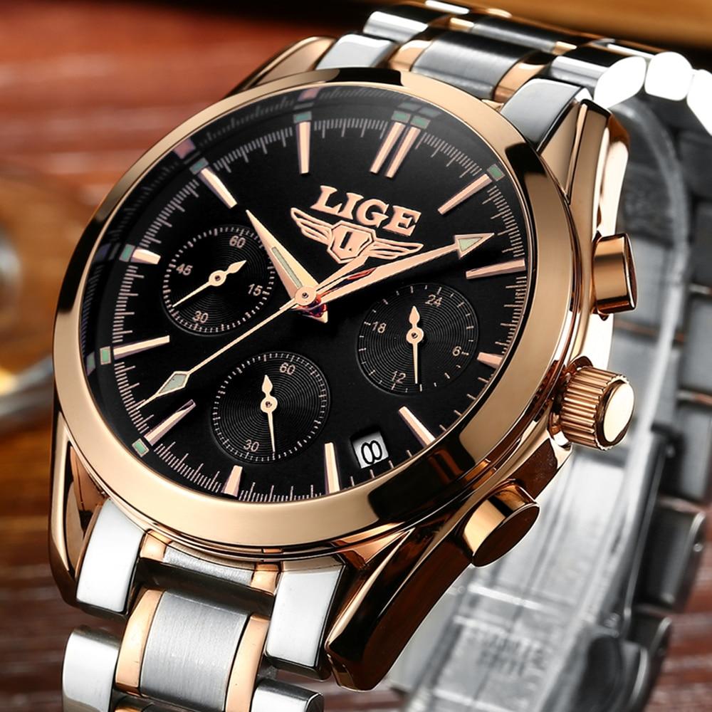 2017 Top Brand Luxury LIGE Quartz Watch Men Steel Fashion Clock Male business casual Waterproof Watches Clock Mens Wristwatches