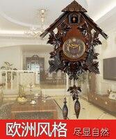 Cuckoo clock christmas decorations for home pendulum control manual solid wood engraving European clock retro living room watch