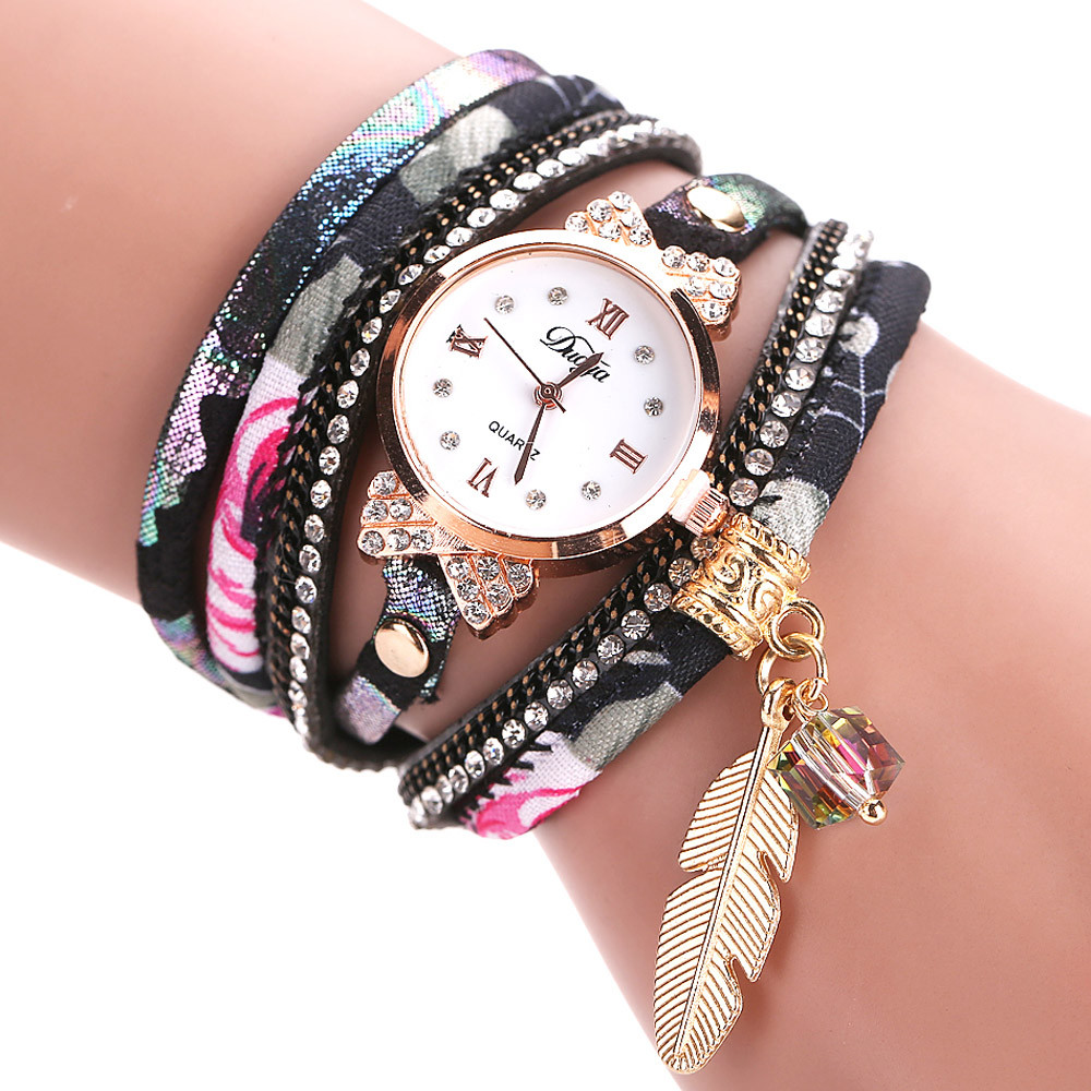 Women Fine Leather Band Winding women watches top brand luxury Analog Quartz Movement Wrist Watch Relogio Feminino Gift