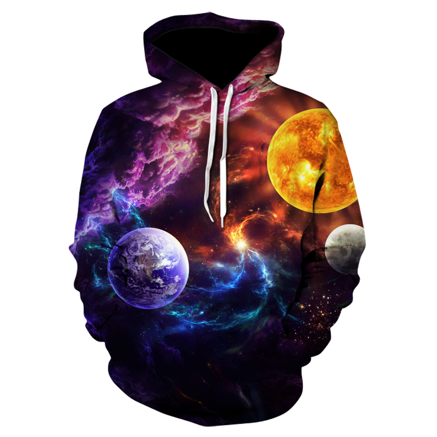 Milky Way Series3D Space Hooded Sweatshirts Blue Galaxy Male Tracksuits Fashion Pullover Brand Quality Extra Plus 4XL Jacket