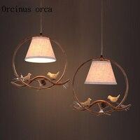 American Retro resin bird chandelier living room coffee bar restaurant bar wrought iron single head Chandelier free shipping