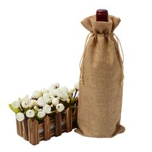 "Купить с кэшбэком 100pcs Customized Natural Jute Wine Bottle Covers 5.11""x12.99"" Burlap Drawstring Linen Pouch Dropshipping Christmas Gift Bags"