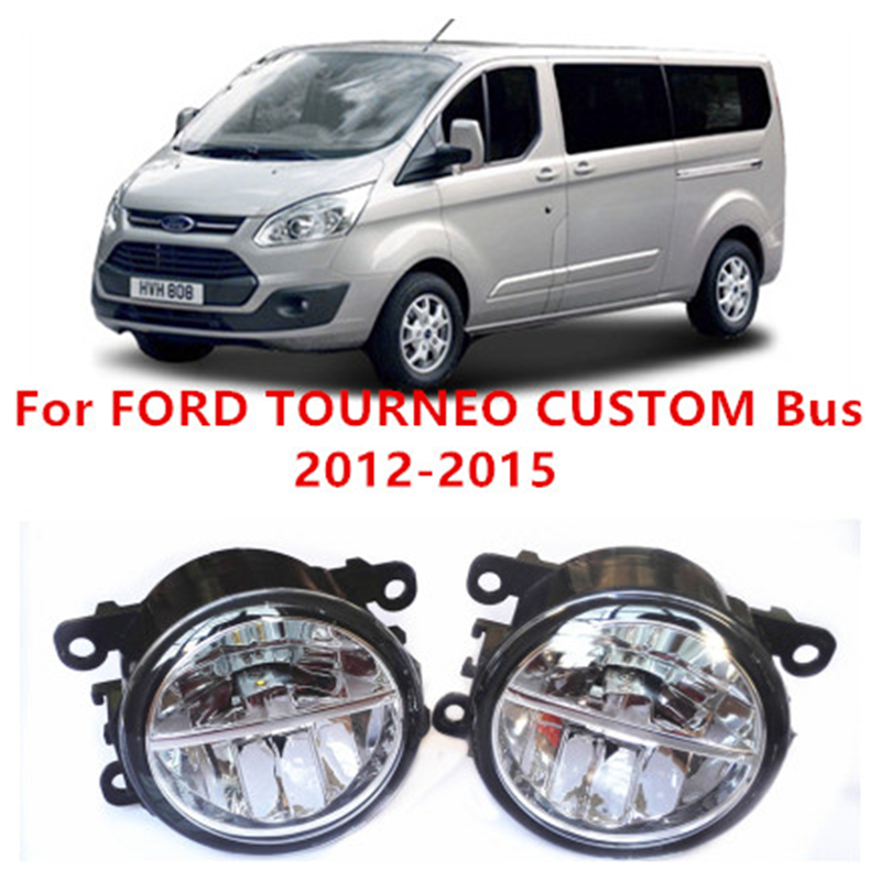 ФОТО Fog Light LED DRL Lamps Daytime Running Lights For FORD TOURNEO CUSTOM Box/Bus  2012-2015 10W AUTO Car Styling