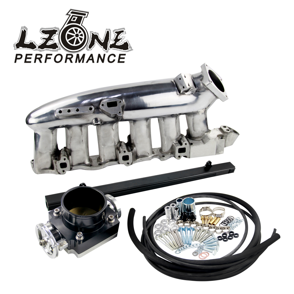 LZONE - NEW Polished Intake Manifold +80MM Throttle Body+RB25DET Fuel Rail FOR R32 R33 R34 RB25DET JR-IM32-PH+6980BK+5439BK lzone racing black aluminium fuel surge tank with cap foam inside fuel cell 40l without sensor jr tk21bk