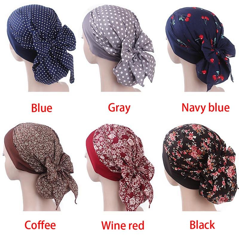Women Hijab Hat Muslim Scarf Floral Print Turan Cap  Hijab Muslim Islamic Scarf Elastic Head Hat Ladies Hair Accessories