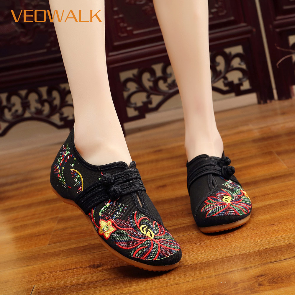 Veowalk Chinese Flower Embroidered Women Comfort Canvas Ballet Flats Vintage Old Beijing Shoes For Ladies Costume Ballerinas