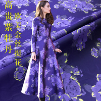 160cm wide cloth autumn and winter golden peony weaving Jacquard fashion fabric Haute Couture Dress Puff skirt clothing fabric