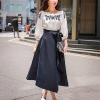 Dabuwawa Autumn Bow Skirts Women 2018 New Asymmetrical Long Skirts Fashion high Waist Big Swing Skirts