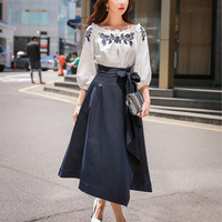 Dabuwawa Autumn Bow Skirts Women 2018 New Asymmetrical Long Skirts Fashion high Waist Big Swing Skirts