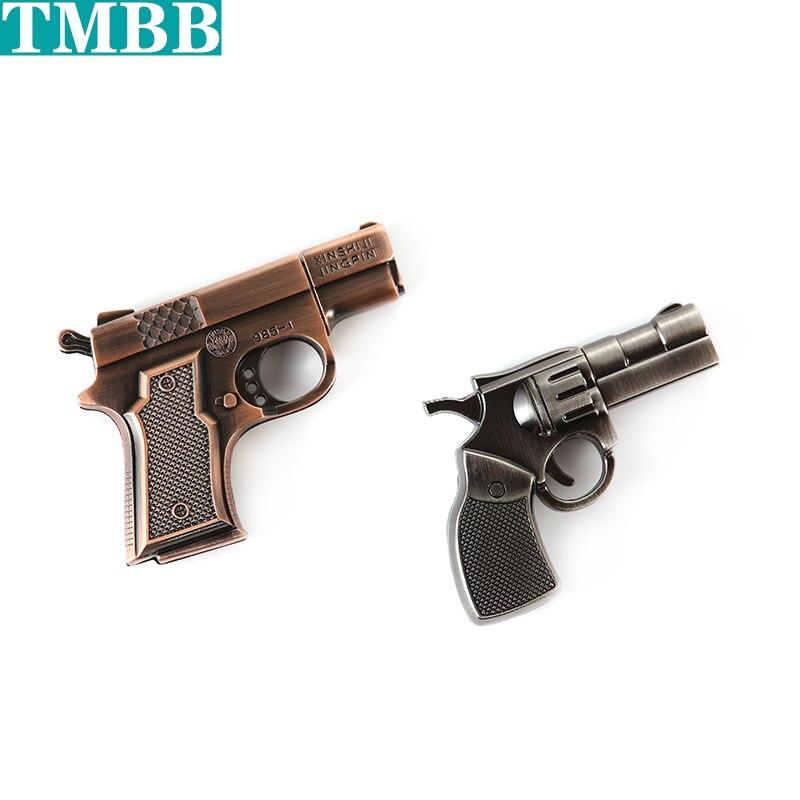 waterproof Simulation metal Silver copper gun USB flash drive pistol pen drive 4GB/8GB/16GB/32GB/64GB/128GB U disk memory stick