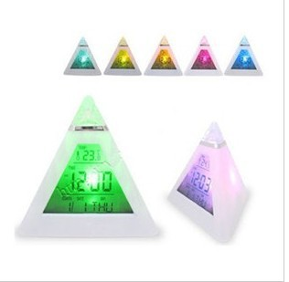 DHL/fedex free shipping 7 LED Color Pyramid Digital LCD Alarm Clock Thermometer