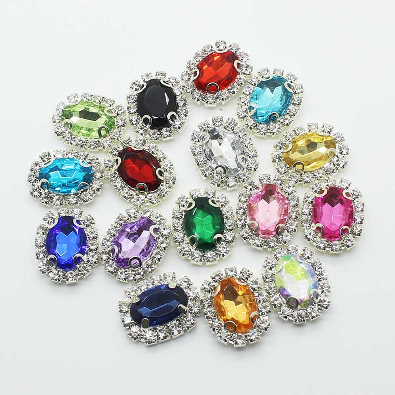 ZMASEY Baru Metal Buttons For Clothing 10 Pcs/Lot 15*20Mm Persegi Panjang Akrilik Jahit Pekerjaan Tangan Tombol Dekorasi Warna Campuran