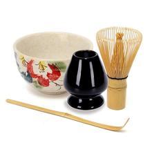 4Pcs/set Traditional Matcha Giftset Natural Bamboo Matcha Whisk Scoop Ceremic Matcha Bowl Whisk Holder Japanese Style Tea Sets