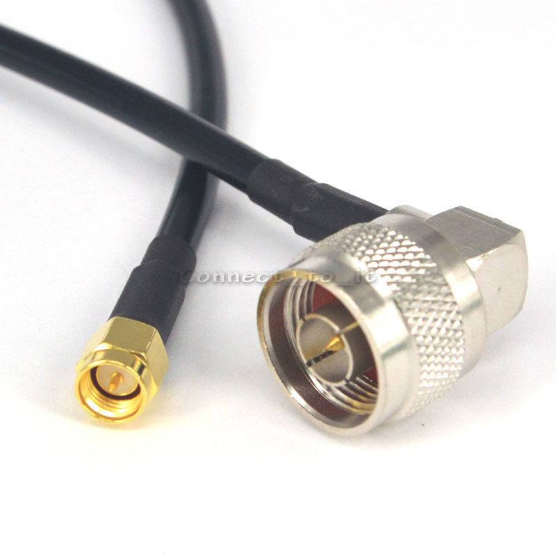 RF Electrical Wire Coaxial Cable N Male Right Angle to SMA Male Connector Pigtail LMR195 60cm for Wireless Antenna цена