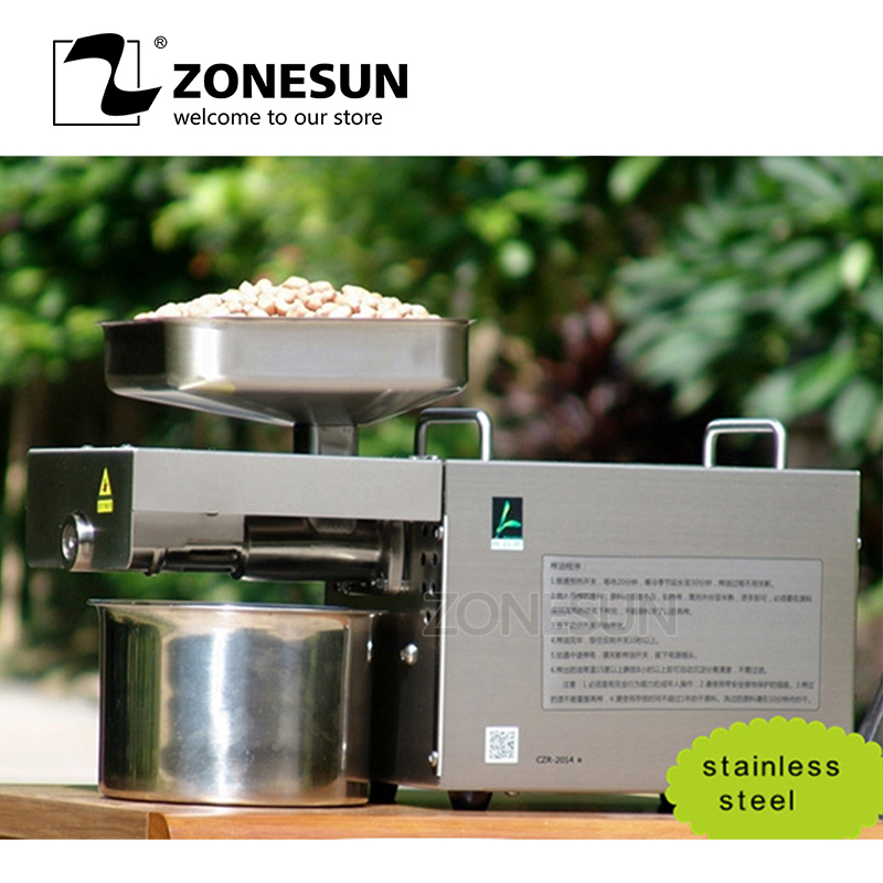 ZONESUN Commercial Grade Seed Nut Oil Press Machine Nut Seed Automatic Stainless All Steel Presser High Oil Extraction hot sale 110v or 220v coconut oil press machine grape nut seed automatic abs plastic pressure high oil extraction