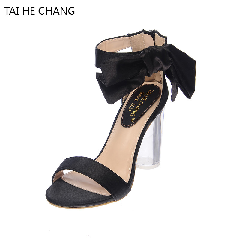 Crystal Thick High Heels With The Bow Sandals 2017 New Women Shoes Summer Europe And The United States Transparent