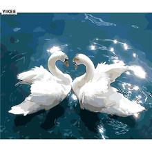 diamond painting animal,diamond embroidery diy,swan embroidery,5d diy,diamond painting swans in lake Q003(China)