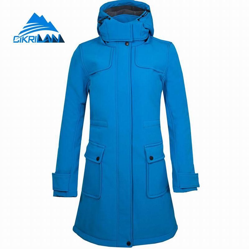 New Female Long Outdoor Softshell Jacket Women Hooded Windbreaker Coat Hiking Climbing Camping Skiing Sport Fleece Lined Jackets