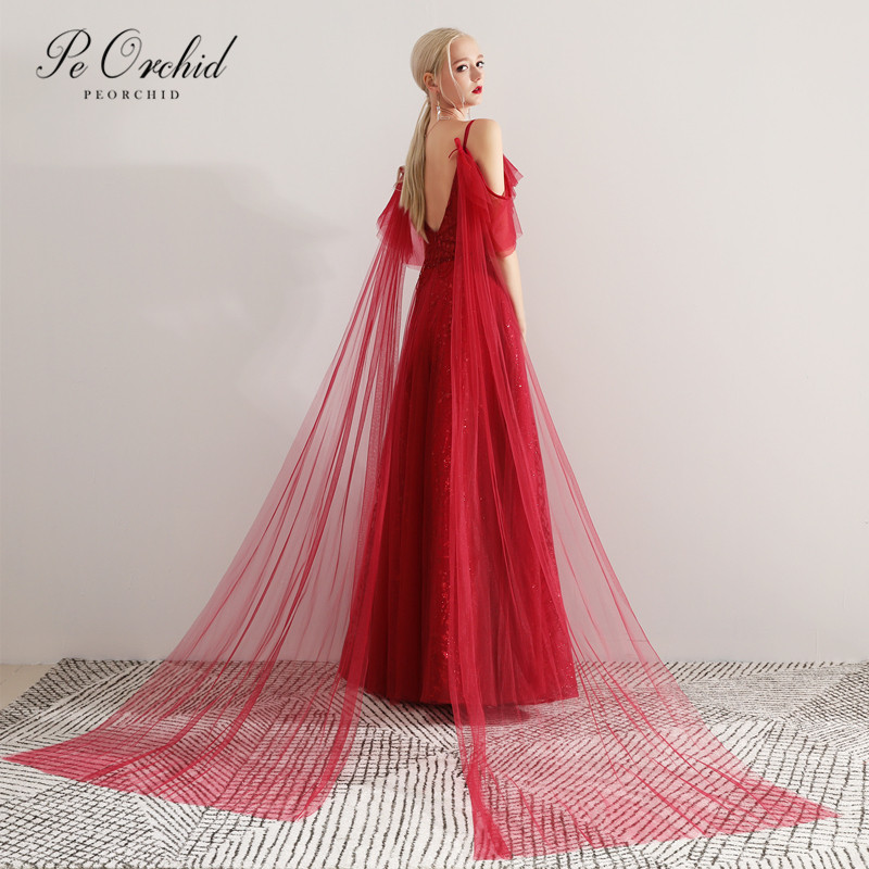 Пеорхидея, красное вино, элегантное платье для выпускного вечера для женщин, тонкие лямки, Тюлевое, с блестками, бордовое, Vestidos Noche, Формальны