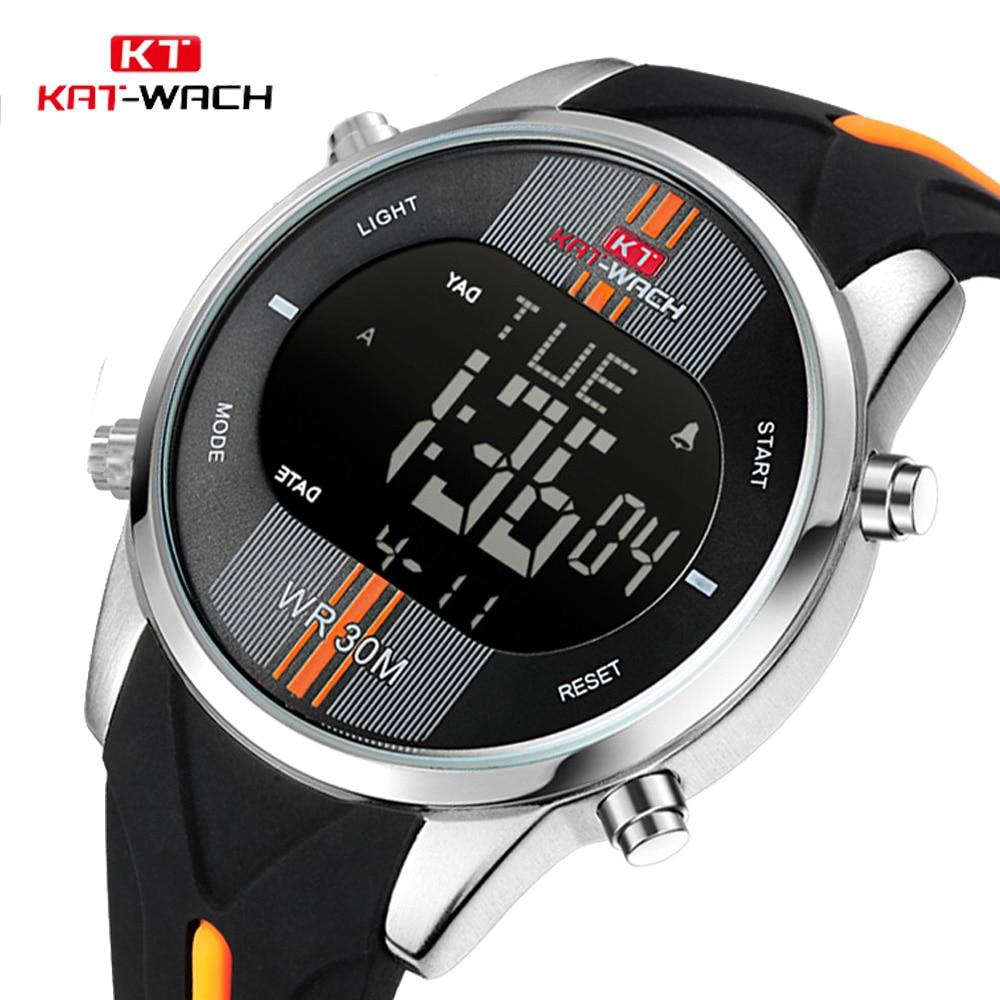 KAT-WACH Brand Men Watch Waterproof Sport Watch Outdoor Silicone Strap Led Digital Watch Men Clock Erkek Kol Saati Hodinky